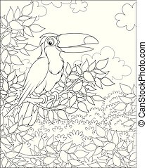 Big tropical bird perched on a tree branch in jungle on a sunny summer day, black and white vector illustrations in a cartoon style for a coloring book
