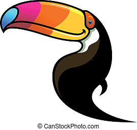 Toucan with a colourful beak - Cartoon black toucan with a...