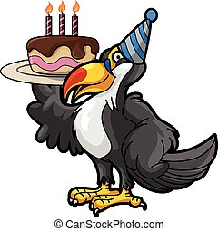 toucan with birthaday cake