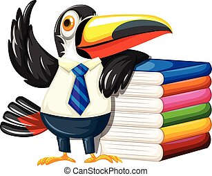 Toucan with many books illustration