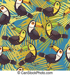 Toucans and palm leaves seamless vector background