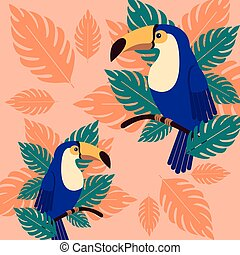 Toucans on a branch with palm leaves. Poster beautiful tropical bird in the leaves.