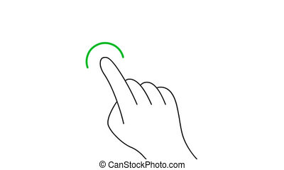 Touch and hold mobile screen gesture line art vector animation. Hand pushing mobile phone touchscreen button contour icon video. Finger pointing and clicking motion graphics