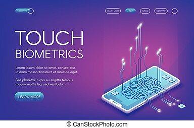 Touch biometrics technology vector illustration of digital...