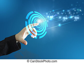 Touch button interface. technology concept