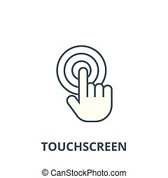 Touch by finger,touchscreen vector line icon, linear...