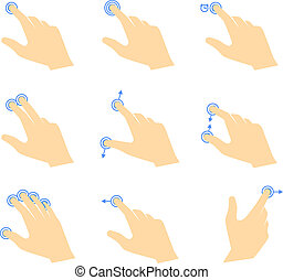 Simple vector touch pad gestures icons. Hand with fingers, touch points and arrows