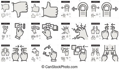 Touch gestures line icon set. - Touch gestures vector line...