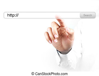 Businessman is touching the http search bar with his hand isolated on white background.