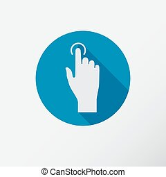 Touch icon, hand with pressed finger in flat style.