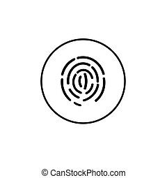Touch id button, web. ID app icon. Vector