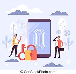 Touch id finger print concept. Vector flat cartoon graphic design illustration