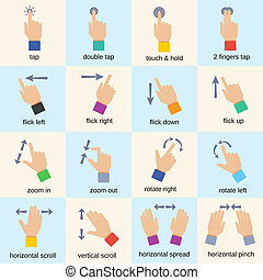 Touch interface hand gestures icons isolated vector illustration
