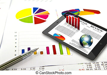 Touch pad and financial Graphs (Elements of this image...