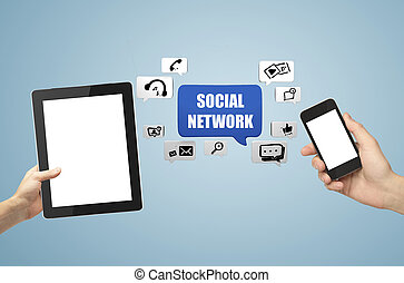 touch pad and phone, social network communication