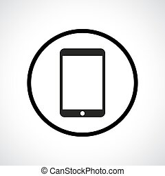 Touch pad. Black flat icon in a circle. Modern gadget symbol...
