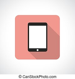 Touch pad icon with shadow. Square icon. Flat modern design.