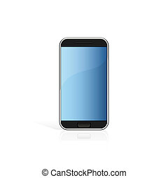 Modern black touch screen cell phone isolated on white
