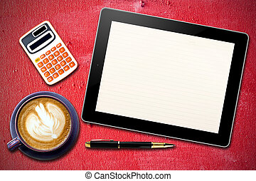Touch screen device and stationery with cup of coffee on Grunge Red wooden background