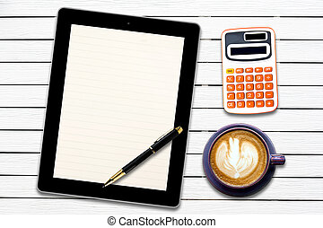 Touch screen device and stationery with cup of coffee on white wood panel background