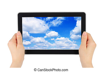 Touch screen device with blue sky