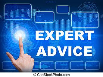 Touch screen digital interface of expert advice concept