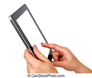 touch screen digital tablet with hands on white background