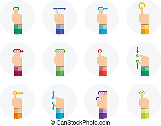 Vector collection of touch screen gesture icons in flat design. Isolated in gray circle on white background.