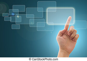 Touch screen interface - Hand pushing a button on a touch...