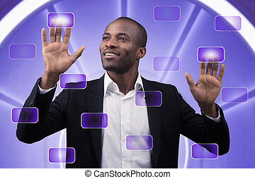 touch screen interface - Businessman works on a touch screen...