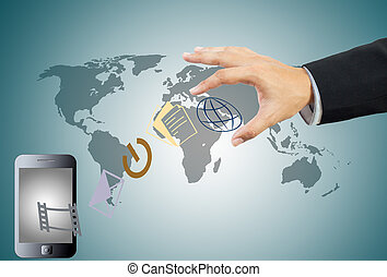 Touch screen mobile phone and hand