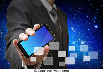 touch screen mobile phone in businessman hand