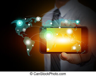 Touch screen mobile phone with businessmen