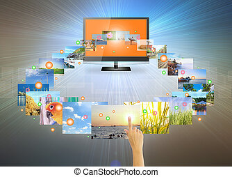 touch screen - Concept of touch screen tv on modern dark...
