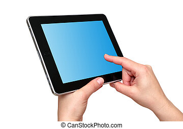 touch screen tablet in hands on white background