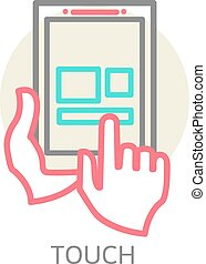 Touch screen tablet PC sign icon