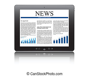 tablet pc with business article - touch screen tablet pc...