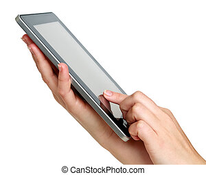 touch screen tablet - touch screen digital tablet in hands