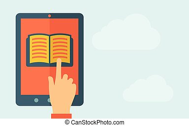 Touch screen tablet with book icon