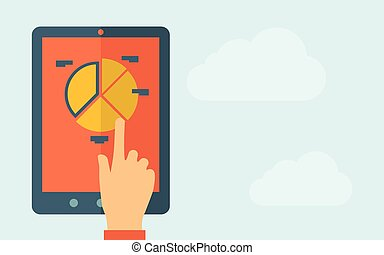 A hand is touching the screen of a tablet with pie chart icon. A contemporary style with pastel palette, light blue cloudy sky background. Vector flat design illustration. Horizontal layout with text space on right part.