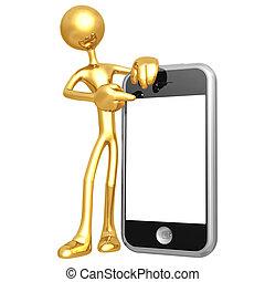 toucha, mobiltelefon, avskärma, presentatör