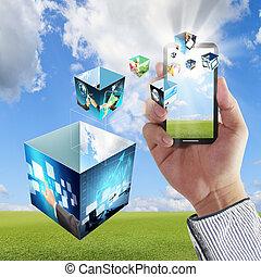 toucha, ringa, mobil, avskärma, hand, strömma, avbildar, visar