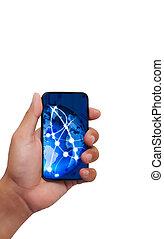 toucha, strömma, mobil, avskärma, ringa, avbildar