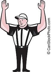 touchdown, amerikaan, scheidsrechter, spotprent, voetbal