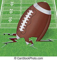 Touchdown Concept - American Football Poster with Ball and...