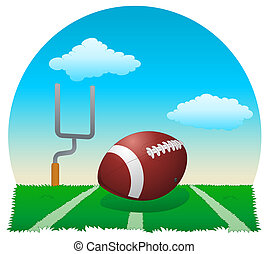 touchdown!!! - illustration of a football ball on field