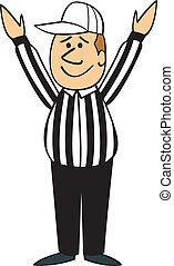 touchdown, scheidsrechter, spotprent, voetbal