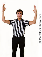 Touchdown - Young brunette man wearing a referee striped...