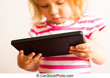 Toucher, écran, apprentissage, tablette