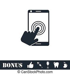toucher, écran plat visualisation, icône